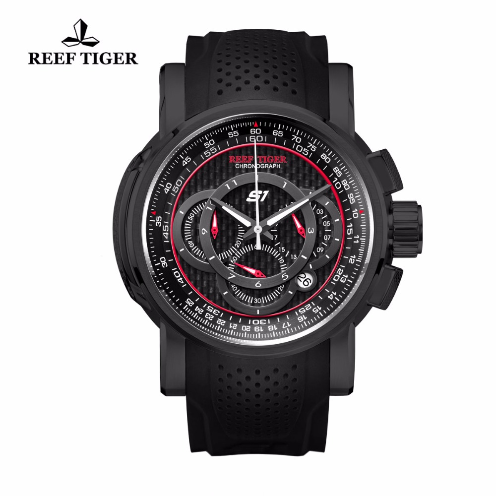 Reef Tiger/RT Outdoor Sport Quartz Watch with Chronograph Date Black Steel Rubber Strap Watches For Men RGA3063Reef Tiger/RT Outdoor Sport Quartz Watch with Chronograph Date Black Steel Rubber Strap Watches For Men RGA3063