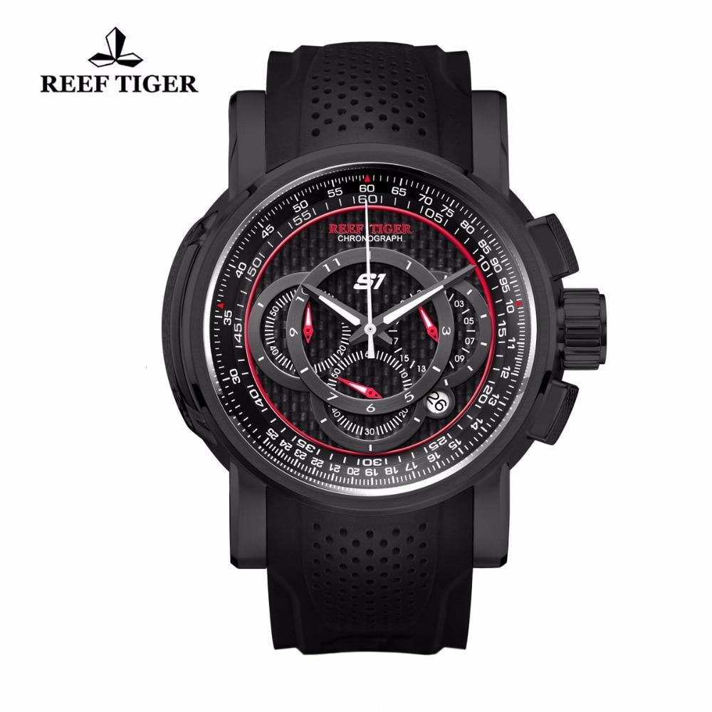 Reef Tiger / RT Sport quartz horloge met chronograaf datum Zwart - Herenhorloges