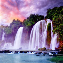New 30x30cm Full Diamond Mosaic Diamond Embroidery Fortune Waterfall Sunset Mountain Diamond Cross Stitch Painting Handwork Kits