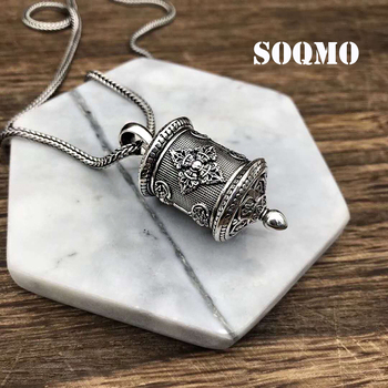 SOQMO 925 Sterling Silver Vintage Buddhistic Six Words' Mantra Gawu Box Necklace Pendant Men Thai Silver Fine Jewelry Gift