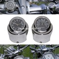 "New Motorcycle 7/8"" - 1"" Handle bar Chrome Dial Clock Temp Thermometer For Harley Crusier Glide Suzuki Custom Free Shipping"