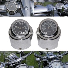 New Motorcycle 7/8″ – 1″ Handle bar Chrome Dial Clock Temp Thermometer For Harley Crusier Glide Suzuki Custom Free Shipping