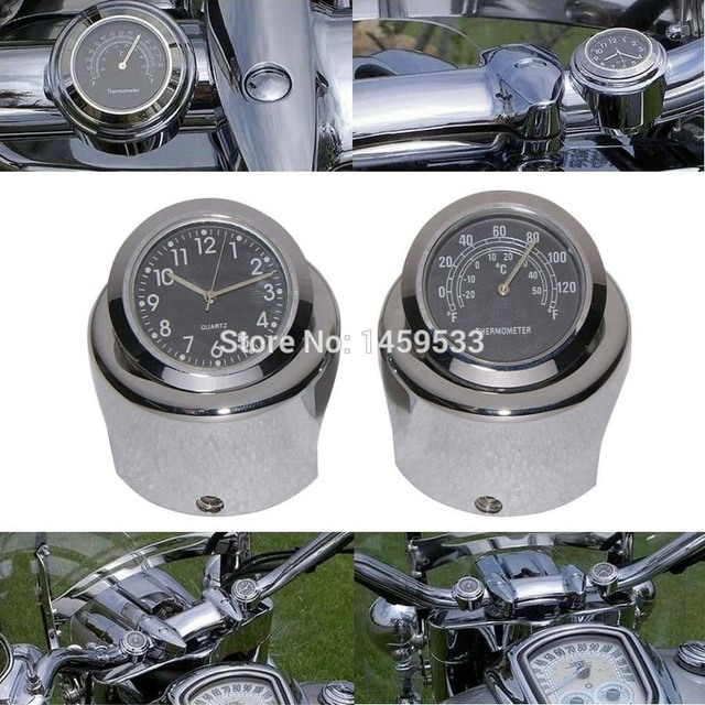 """New Motorcycle 7/8"""" - 1"""" Handle bar Chrome Dial Clock Temp Thermometer For Harley Crusier Glide Suzuki Custom Free Shipping"""