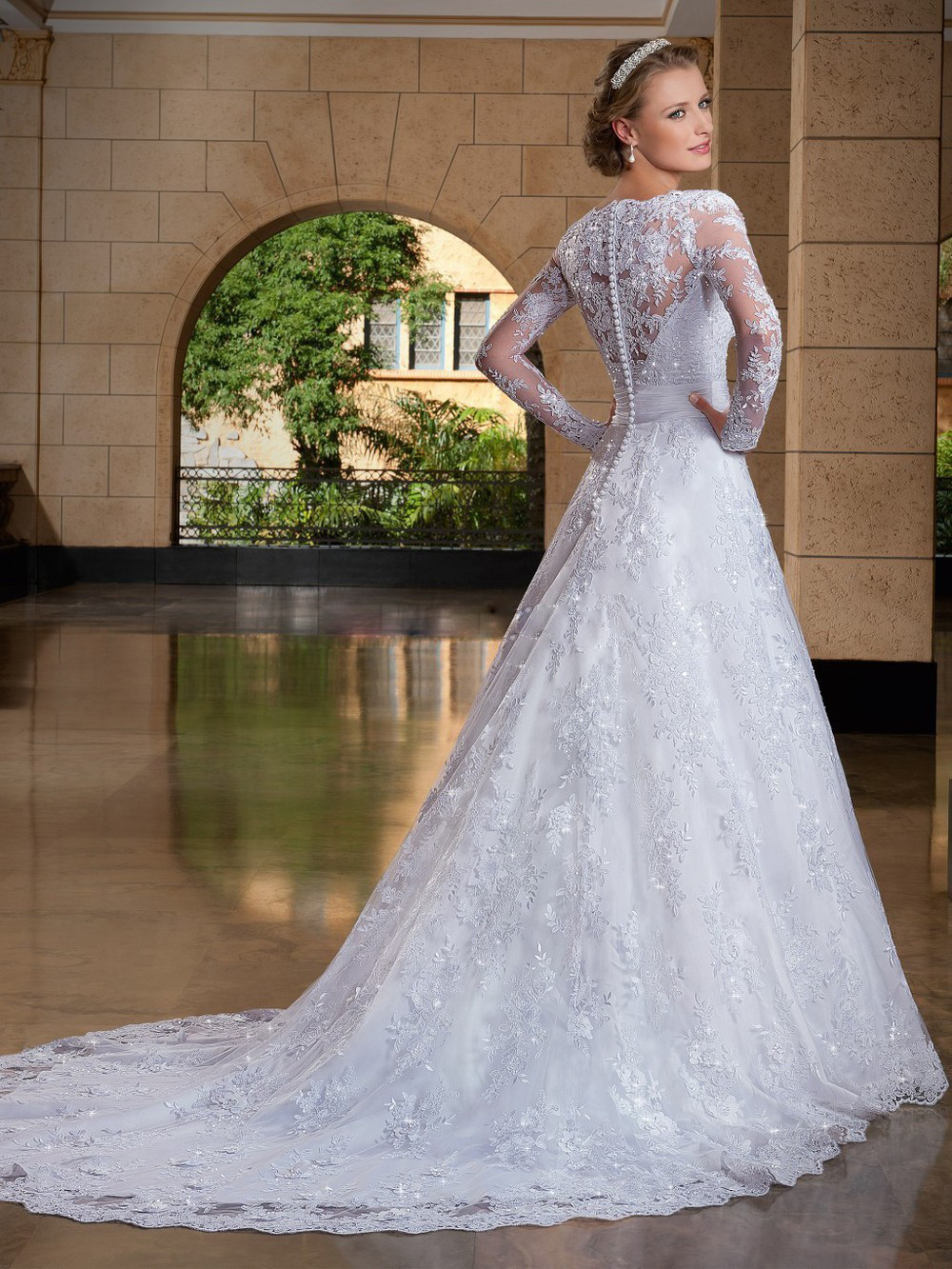 Vestido Limited New De Noiva Ever Pretty Sexy V Neck Long Sleeve Lace Hijab Wedding Dresses Plus Size 2016 Robe Mariage A007 In From