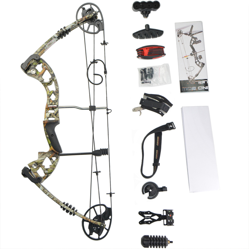 Camo Compound Bow Archery Compound Bow 30-70lbs Set Kit Stabilizer Arrow Rest  Take down Right hand Hunting