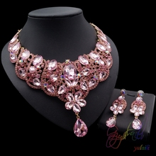 Pink Crystal Fairy Princess Costume Jewelry Sets Hollow Glass Ball For Making Jewelry African Beads Jewelry Sets
