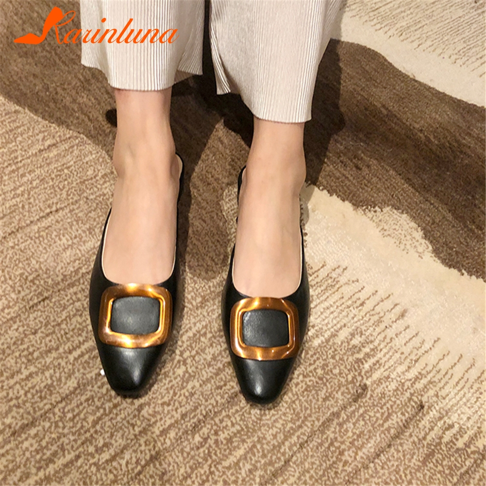 KARINLUNA Hot Sale Concise Slippers Woman Shoes Buckle Decoration Slip On Square Toe Summer Shoes Woman Slippers Lady ShoeKARINLUNA Hot Sale Concise Slippers Woman Shoes Buckle Decoration Slip On Square Toe Summer Shoes Woman Slippers Lady Shoe