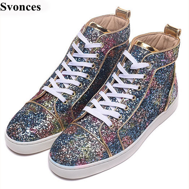 Tenis Masculin Men Sneakers Sequin Luxury Brand Blue Glitter Embellished  Strass Flat Shoes For Men High Top Lace Up Casual Shoes bcb78a69ce6d