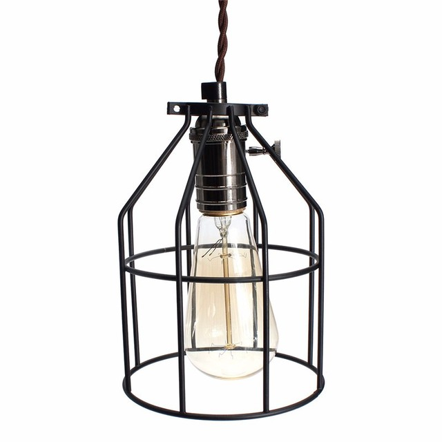 Smuxi e27 vintage steel bulb guard clamp on metal lamp cage retro trouble light industrial lamp