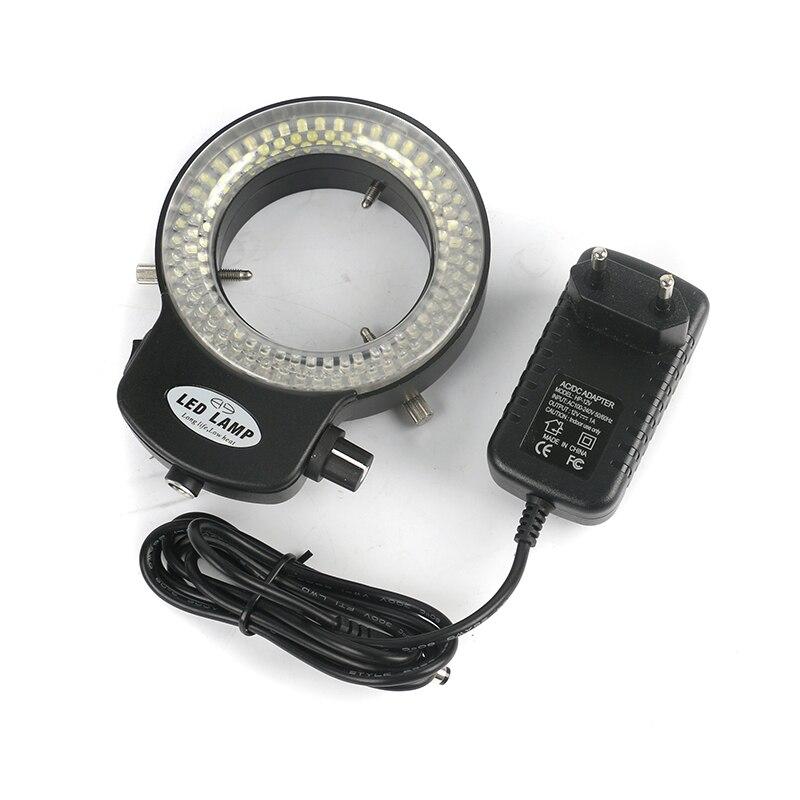 Alta luminância Ajustável 144 LED Ring Light iluminador Lâmpada Para Microscópio Estéreo Da Indústria Industrial CCD da Câmera De Vídeo HDMI