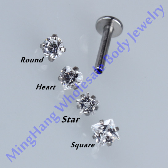 Mixed 4 Shape Zircon Internally Threaded Labret Monroe Lip Studs