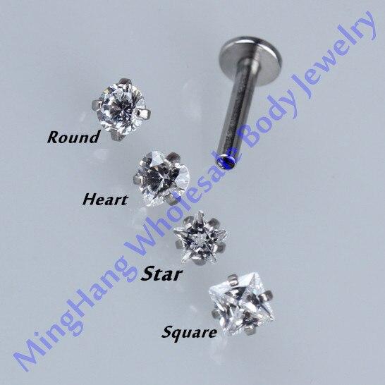 Mixed 4 Shape Zircon Internally Threaded Labret Monroe Lip Studs Rings Ear Piercing Ear Cartilage Helix Tragus Stud Jewelry