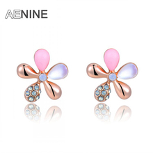 AENINE Delicate Rose Gold Color women Opal Flower earrings with the AAA CZ stud earring Valentine's Gift for girls L2020640335b