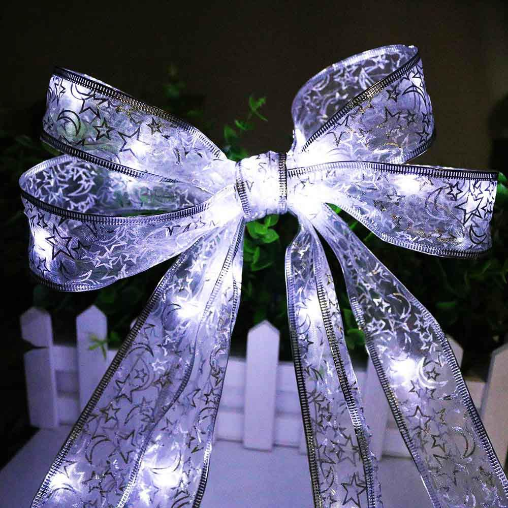 4m40 LED String Ribbon Light DIY Gift Box Decoration Bow Knot Lace Tape For Christmas Tree Pastry Cloth Fairy Garland JQ
