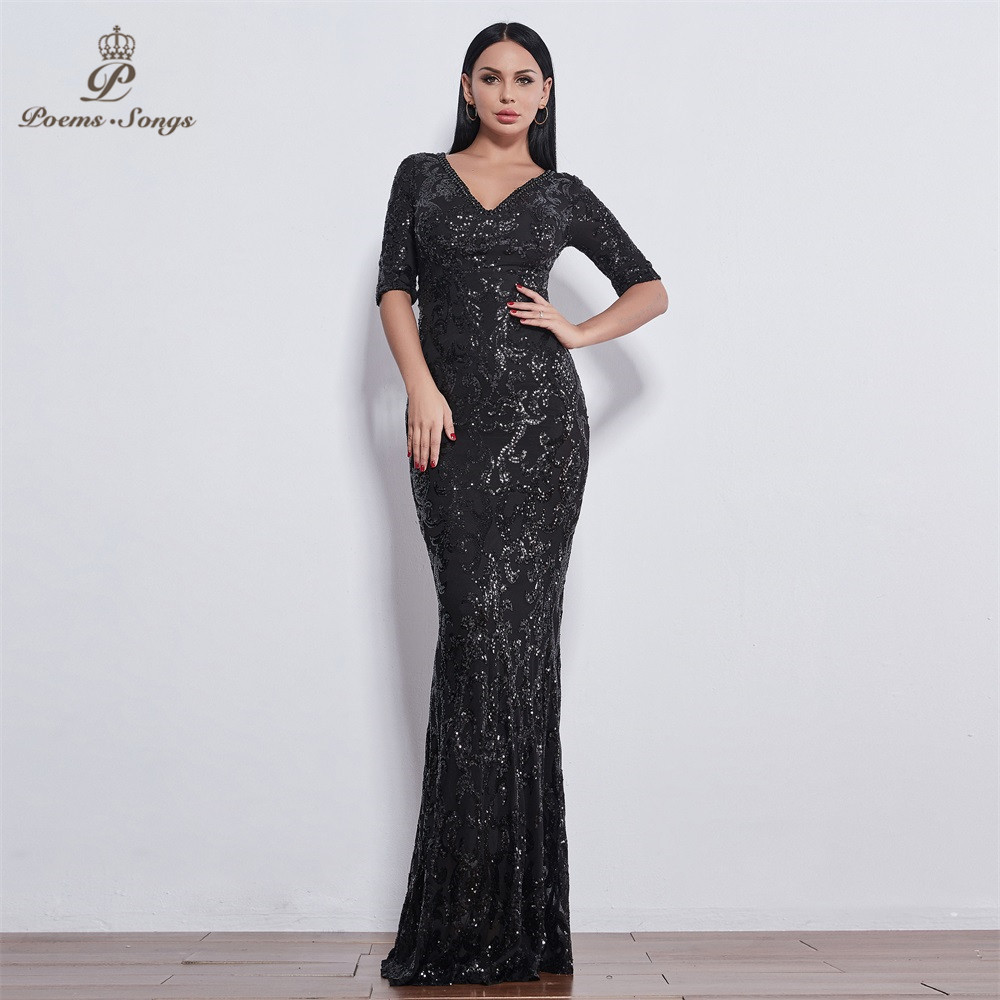 Poems Songs Irregular pattern Sequin half sleeve   Evening     dresses   vestido de festa longo prom   dress   vestidos elegant