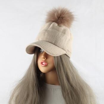 New Winter Fur Pompom Hat For Women Spring Cotton Knitted Baseball Cap With Pompon Brand Visor Caps Ladies Skullies Beanies 4