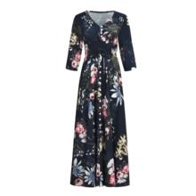 VZFF Button Front Allover Print V Neck Dress Women 2019 Posh Bohemian Spring Autumn A Line Large Swing Chiffon Maxi Dress allover cartoon print bow tied dress