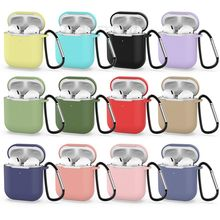 Solid Color Silicone Case for Airpods 2 Cute Protective Earphone Cover for Apple Airpods 2 Wireless Charging Box Shockproof Case