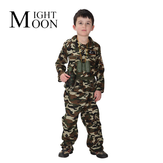 moonight children stage army costumes halloween costume special forces costume handsome soldier camouflage clothing