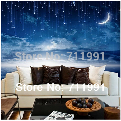 Free shipping custom  stereoscopic Cosmic Star Wallpaper 3D Wallpaper nightclub theme room ceiling murals fashion personality blue earth cosmic sky zenith living room ceiling murals 3d wallpaper the living room bedroom study paper 3d wallpaper