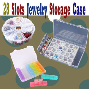 Image 4 - 28 Slots Nail Art Storage Box Plastic Holder For jewelry Rings Rhinestone Diamond Painting Organizer Transparent Display Case