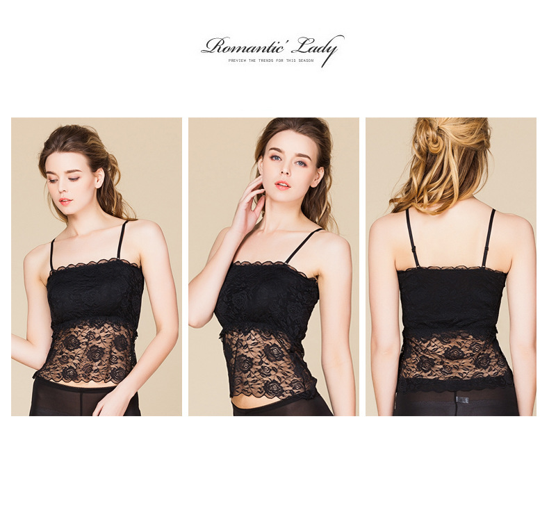 100% Real Silk Women's Tube Tops Femme Sexy Lace Wrap Chest Women Sling Inner Tops Female Wild Basic Halter Camis With 2 Pads 8