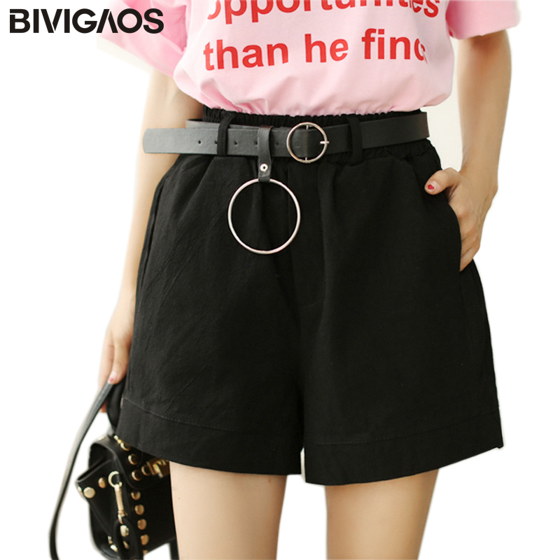 BIVIGAOS 2017 Summer New Womens Cotton Linen A-line Wide Leg   Shorts   Belt Metal Ring   Short   Loose   Short   High Waist   Shorts   Women