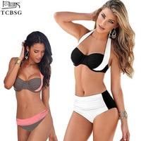 TCBSG 2017 Newest Sexy Bikinis Halter Push Up Bikini Set Women Swimsuit High Waisted Bathing Suits