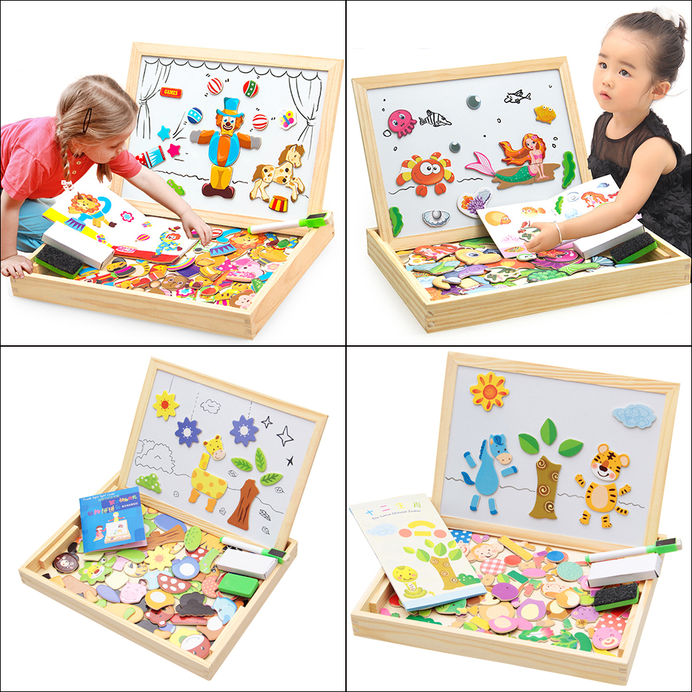 Multifunctional 3D Magnetic Wooden Farm Animals City Puzzle Sticker Baby Dress Up Education Puzzle Set Wooden Toy For Children