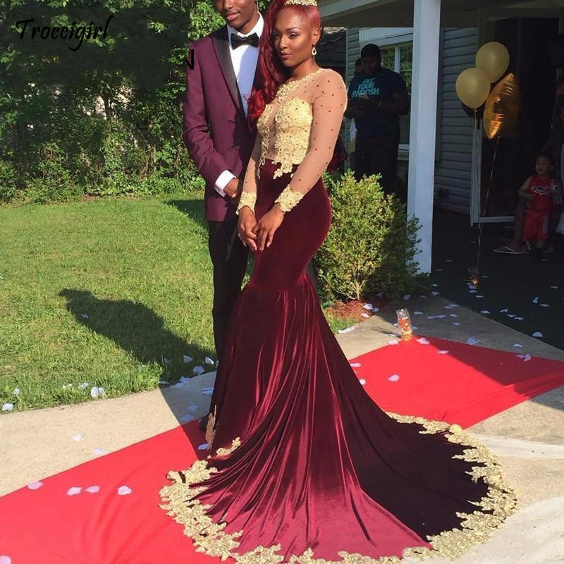 73-1             South Africa Mermaid Burgundy Prom Dresses 2019 Sheer Long Sleeves Prom Dresses Lace Appliques Sweep Train Floor Length