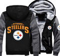 Men Women Steelers Foot ball Team Zipper Jacket Thicken Hoodie Coat Clothing Casual Free shipping
