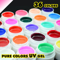 Super Hot Pretty 36 Colors UV Gel Nail Tips Pure Fine Shiny Cover French Manicure Set