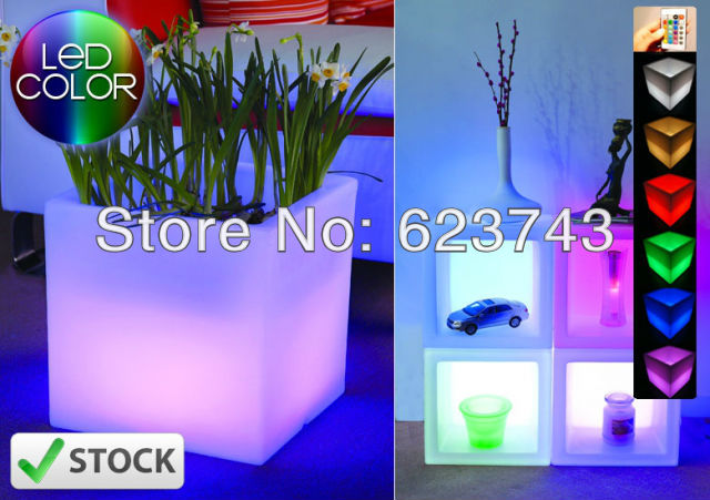 Free Shipping Glowing Magic Cube Flower Pot,Remote Color Changing RGB LED Ice Bucket,led Vase,LED Beer Barrel,LED Cube BY EMS