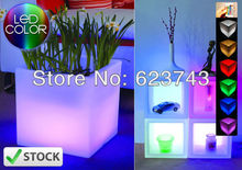 Free Shipping Glowing Magic cube flower pot ! Remote color changing RGB led flowerpot ,led vase,LED beer barrel,LED Cube BY EMS
