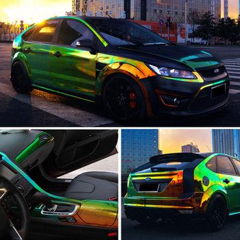 Zmienia kolor kameleon naklejki samochodowe błyszczące kolorowe do diy naklejki samochodowe karoseria Vinyl naklejka na samochód naklejki na motocykl tanie i dobre opinie AUMOHALL Całego ciała Rodzaj oleju porady Karoserii Klej naklejki 20cm Jest dostarczana 1 35m F570