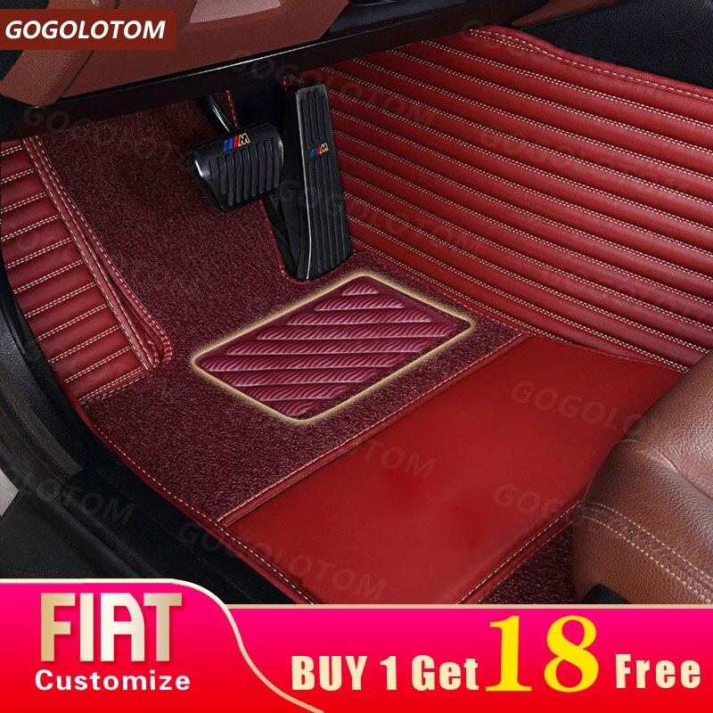 Tapis de sol de voiture sur mesure en cuir imperméable pour FIAT 500 500C