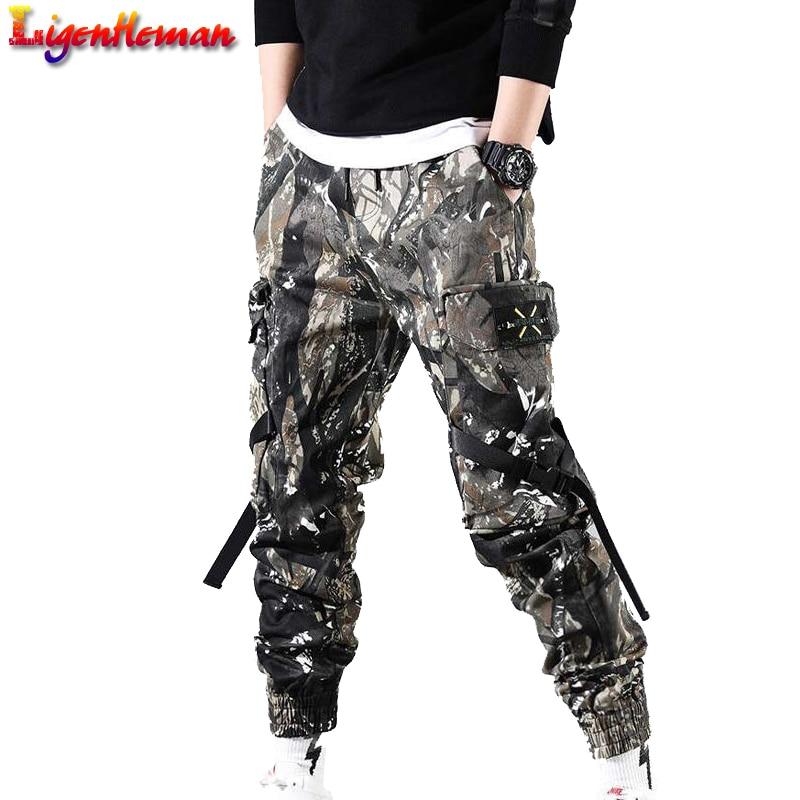 Hip Hop Streetwear Ribbons Zipper Pants Men Black Slim Harem Joggers Pants Side-pockets Cotton Man Trousers Men Camouflage Pants