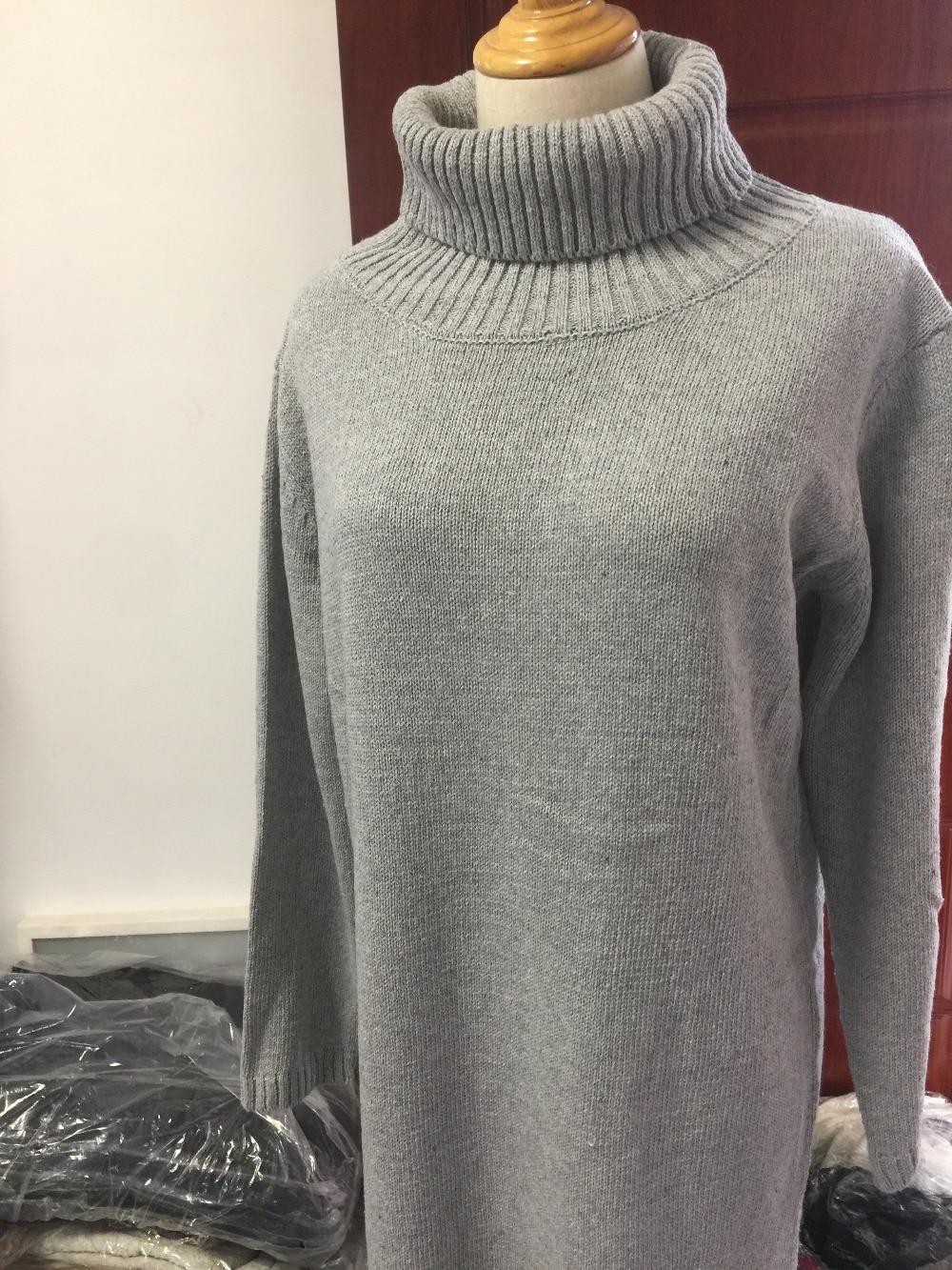 747c8d3699 Punto Flojo Largo Del Thick Suéter Cuello Mujeres Negro Femenino Alto Línea  2018 Una Invierno De ...