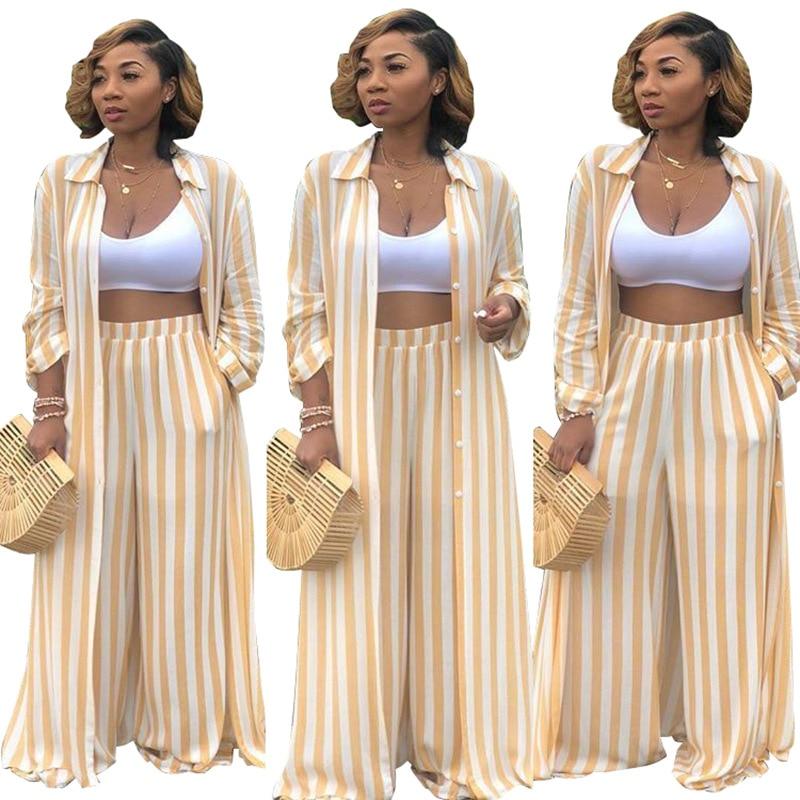 Women Striped Print Long Sleeve Shirts Wide Leg Pants Two Piece Summer Set Loose Shirts Pants 2 Piece Set Women's Suits Sets