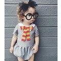 2017 Verão Bebê Recém-nascido roupas Para Bebês Estilo Escola Infantil arco de Manga Curta gola Terno Do Corpo Do Bebê Menino Roupas de Menina Bebe