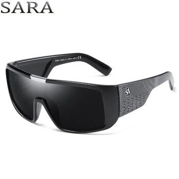 33682fde05f SARA Año Nuevo 2018 dragón gafas de sol hombres deporte gafas de sol a  prueba de viento Escudo de marca para hombres