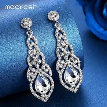Mecresh Crystal Wedding Drop Earrings for Women Silver Black Gold Color Korean Bridal Dangle Jewelry