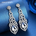 Mecresh Crystal Wedding Drop Earrings for Women Silver Black Gold Color Korean Bridal Dangle Earring 2018 Fashion Jewelry EH444