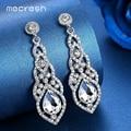 Mecresh Crystal Wedding Drop Earrings for Women Silver Black Gold Color Korean Bridal Dangle Earring 2018 Fashion Jewelry EH444