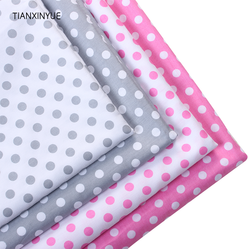 TIANXINYUE Meter fabric twill sewing cloth gray pink round dot cotton fabric design textile tissue patchwork bedding quilting