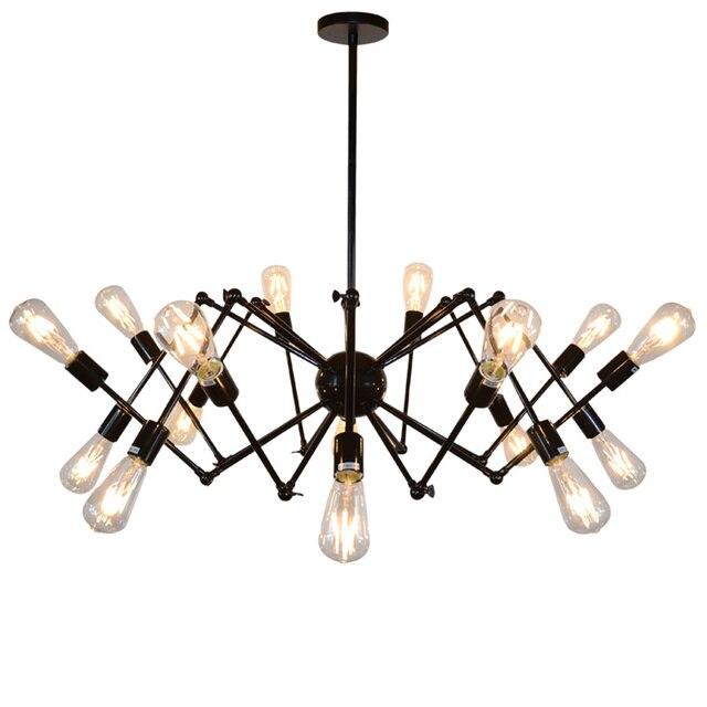 Loft Vintage Black Spider Pendant Lights Iron Retractable Lamp Kitchen Light Suspension Fixtures