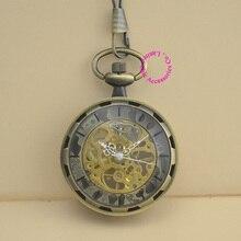 wholesale fashion good quality vintage retro antique bronze men grandfather gift steampunk mechanical pocket watch hour