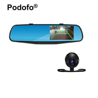 Ultra Thin 4 3 Screen Dual Lens Car DVR Camera Full HD DVRs Rearview Mirror Detector