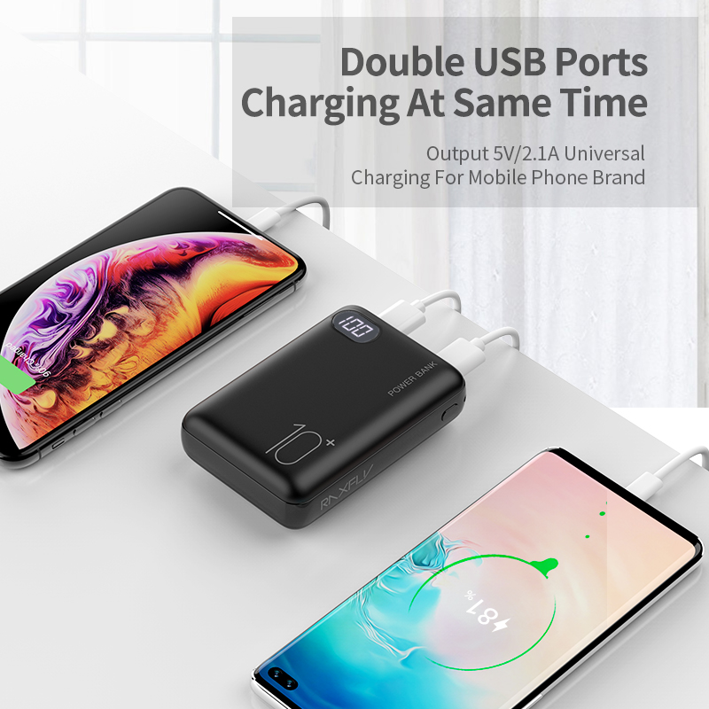 RAXFLY Mini Power Bank 10000mAh Cell Phone Portable Charger LED Powerbank 10000 mAh For Xiaomi External Mobile Battery Poverbank 2