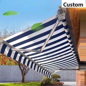 Niestandardowa markiza zasłona przeciwsłoneczna na zewnątrz instalacja tkanina plandekowa gruby 280gsm kolorowy pasek tkanina wodoodporna wodoodporna tkanina